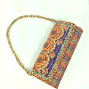 Vintage fabric and beaded clutch